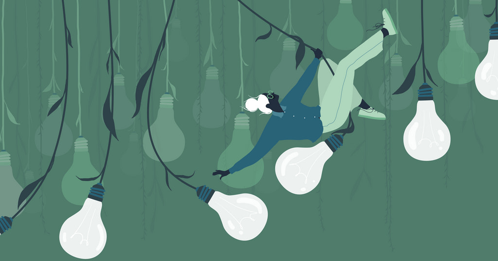 Illustration of a woman swinging from lightbulb cords that resemble vines, signifying elements of inspiration