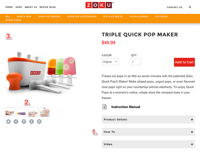 by using dropdown tabs zoku is able to add additional product information into their page without it being too crowded and without sending a visitor to