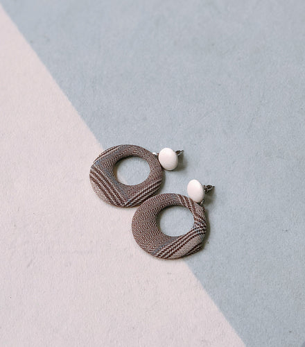 Brown Tweed Ear Studs