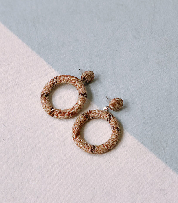 Brown Woven Ear Studs