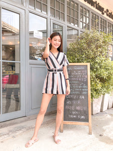 Cara Striped Romper - Pink