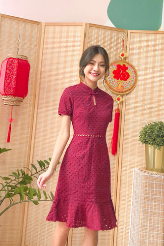 Enya Eyelet Cheongsum Dress - Red (S/M)