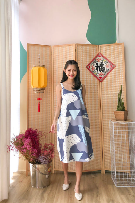 Lucienne Abstract Dress - Blue (XS/S/M/L)