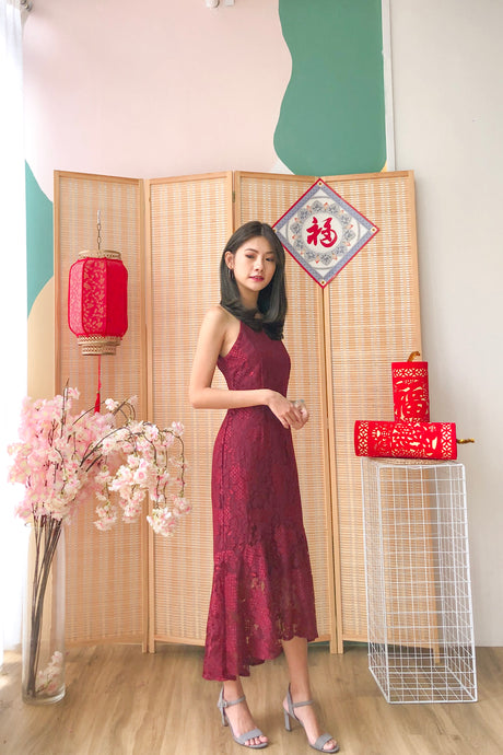Isadora Lace Dress - Red (S/M/L)