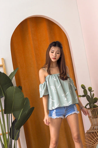 Kit Printed Off-Shoulder Top - Sage