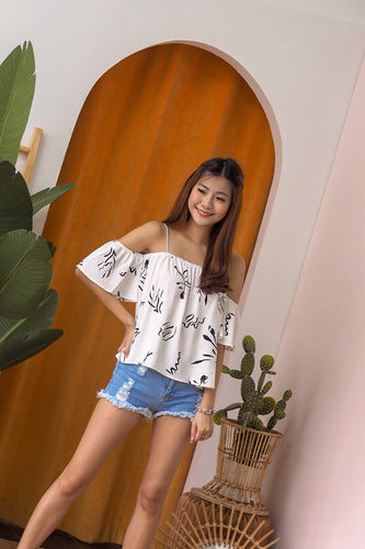 Kit Printed Off-Shoulder Top - White