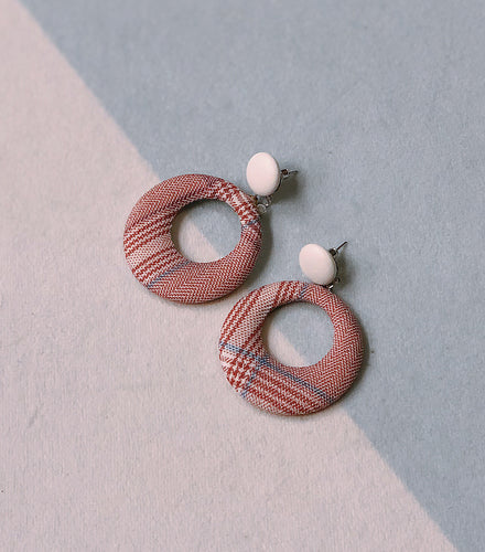 Red Tweed Ear Studs