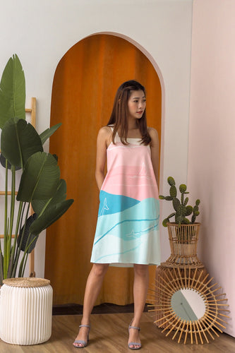 Xenia Printed Trapeze Dress - Pastel