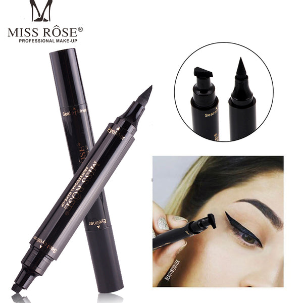 2017 New Miss Rose Brand Eyes Liner Liquid Make Up Pencil Waterproof Black Double-ended Makeup Stamps Eyeliner Pencil
