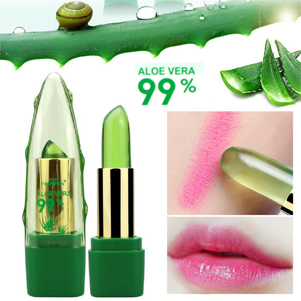 2018 New Batom 99% ALOE VERA Natural Temperature Change Color Jelly Lipstick Long Lasting Moistourizing Lip Makeup