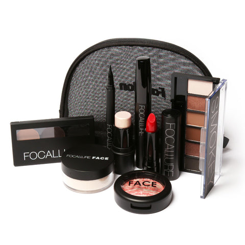 Focallure 8 pcs/set Makeup set including  Lipstick, eyeliner,Mascara, Eyeshadow, Eyebrow Powder,  Blush, Highlighter Cosmetics
