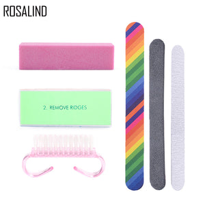 ROSALIND 6Pcs/Lot Nail Cleaning Set For Manicure With Sand Buffer Sticks Clean Brush Nail Art Tool Gel Nail Polish Accessories