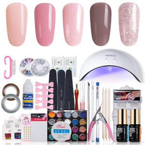 Modelones 11Pcs/Lot SUNmini UV Lamp Beigner Practice Nail Art Tools DIY Nail Design UV Nail Manicure Kit Any 4 Colors Gel In Set