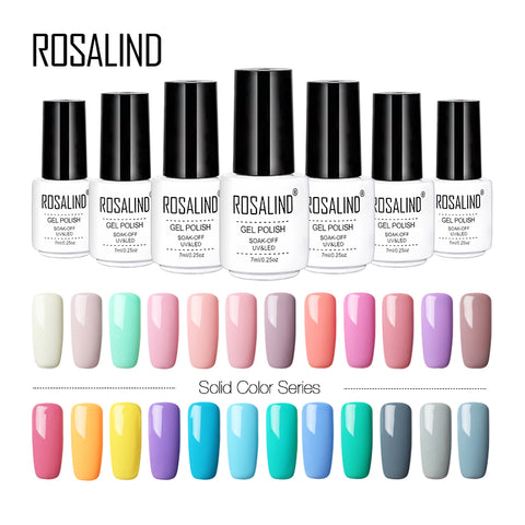 ROSALIND Gel 1 Pure Color 7ML Gel Nail Polish 31-58 UV&LED Lamp Gel Varnishes For Nail Extension Design Manicure Top Nail Art
