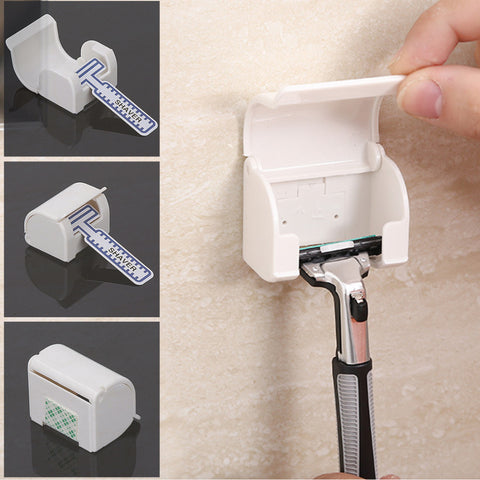 Sticky Shelf Self Adhesive Dustproof White Shaving Plastic Razor Holder Box 1PC Wall Mounted Bathroom Set Razor Cap Shaver Rack
