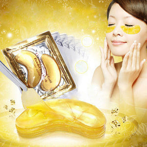 20pcs=10packs Gold Eye Mask Crystal Collagen Eye Mask Dark Circle Anti-Puffiness Cream Hyaluronic Acid Eye Patches Golden Masks