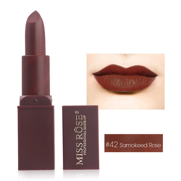 MISS ROSE Brand 12 Colors Makeup Red Color Lip Matte Lipstick Lips Vitamin E Waterproof Lipstick Matte Cosmetics Lip Nude Beauty