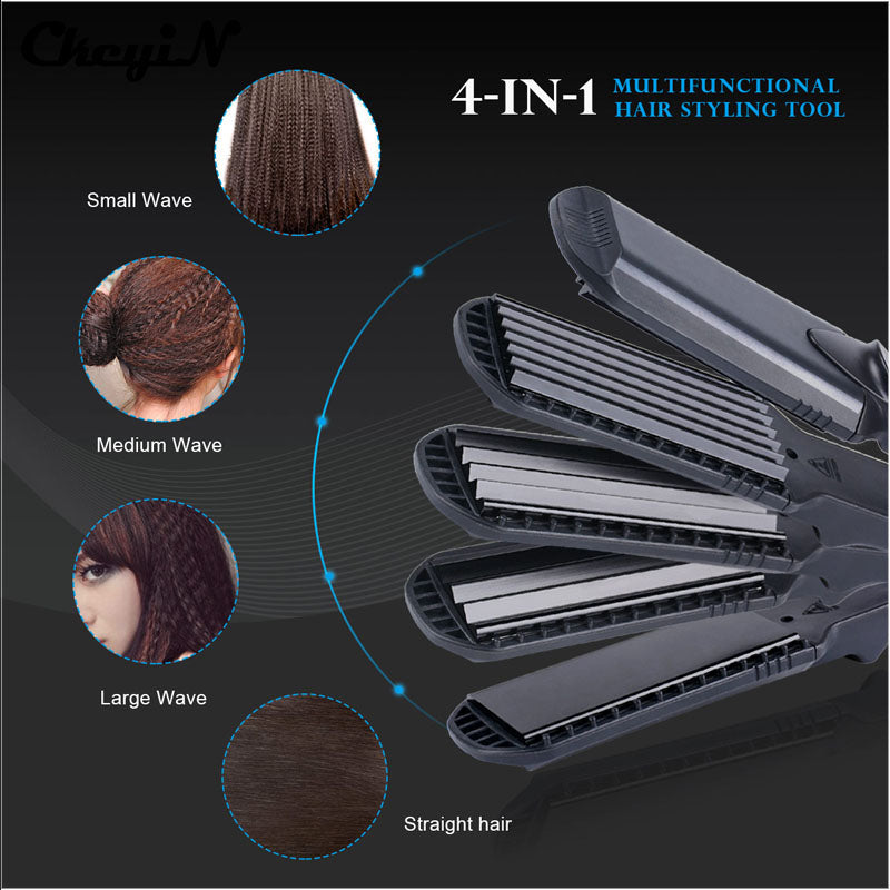 Hair Straightener &Corn Wide Wave Plate 4 style Interchangeable Hair Curling iron Corrugated Flat Iron Hair Curler styler Tool47