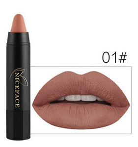 NICEFACE Lipstick Pencil Cosmetics Matte Lips Pigment Nude Lipstick Long Lasting Matte Lipstick Pencil  Makeup