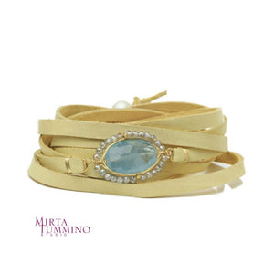 Aquamarine Leather Wrap