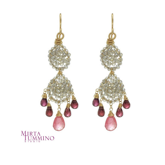 Beaded Labradorite Pavè with Garnet and Pink Sapphire Earrings