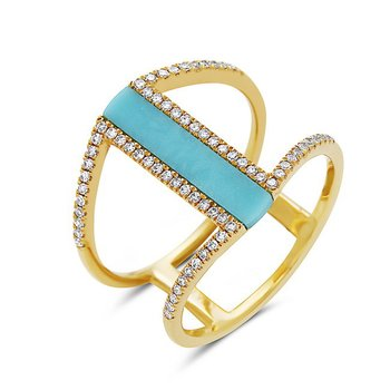 Turquoise and Diamond Fashion Ring