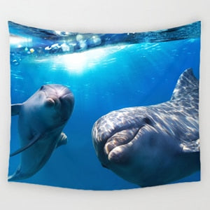 Swimming Dolphins Tapestry - Wall Hanging Home Decor Tapestries