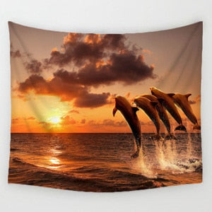 Sunset and Dolphins Tapestry - Wall Hanging Home Decor Tapestries