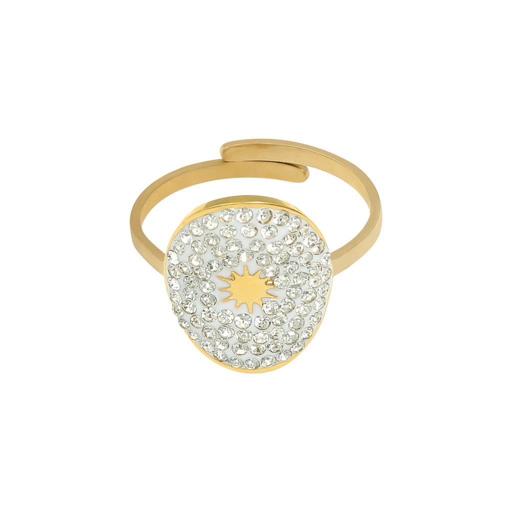 Godmother ring - Guld/zirkoner str.onesize