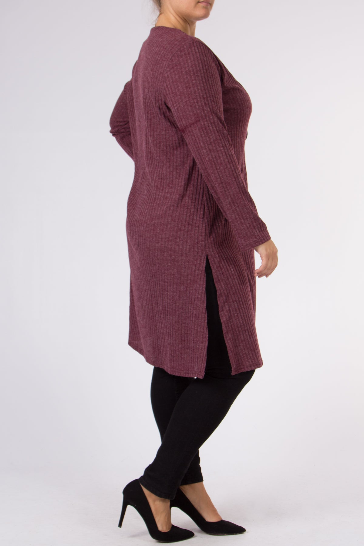 Cardigan m/spænde Bordeaux - Plus - Miss Rathje