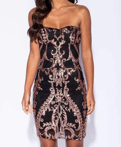 Baroque Sequin Bodycon - Kjole - Miss Rathje