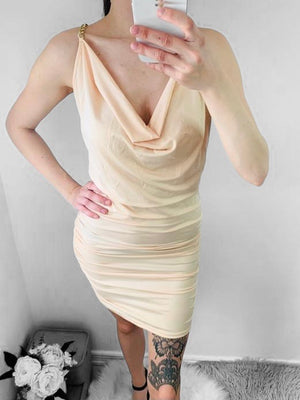 Lys beige mini dress M/kæde Str.Onesize34-38