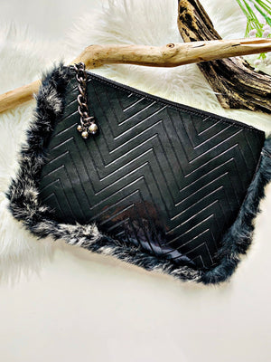 Sort crossbody/Clutch M/Fur - Miss Rathje