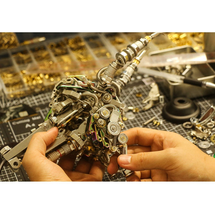 1087Pcs Metal 3D DIY Mechanical Bull Animal Model Assembly Kit for Adult