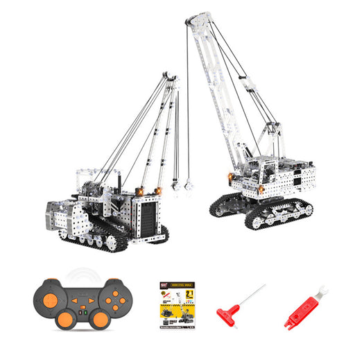2400+Pcs 2 In 1 DIY 3D Metal RC Engineering Crane Model Kits Assembly Puzzle Toys