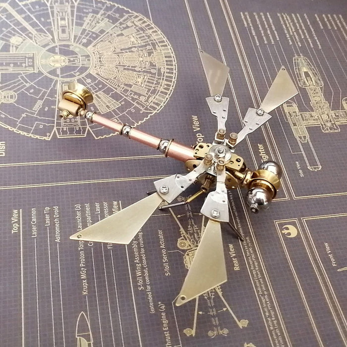 3D Metal Copper Dragonfly Mechanical Insects Model Crafts