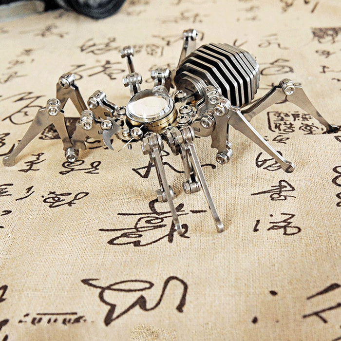 3D Stainless Steel Assembled Spider Clock Model Handmade Crafts