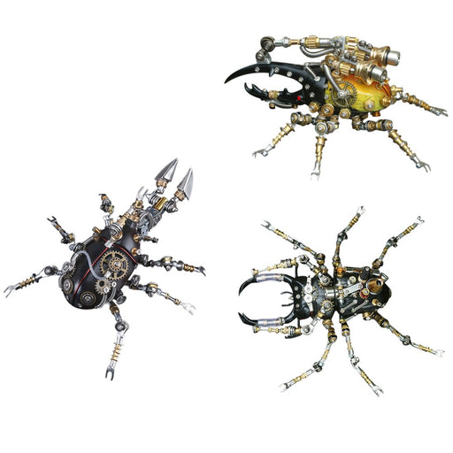 3Pcs Metal 3D Eastern Lucaninae Beetles Insect Mechanical Assembly Model