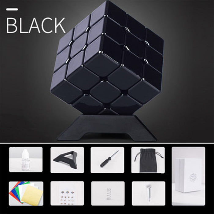 3x3 Metal Solid Color Rubik's Cube - Black/ Golden/Silver