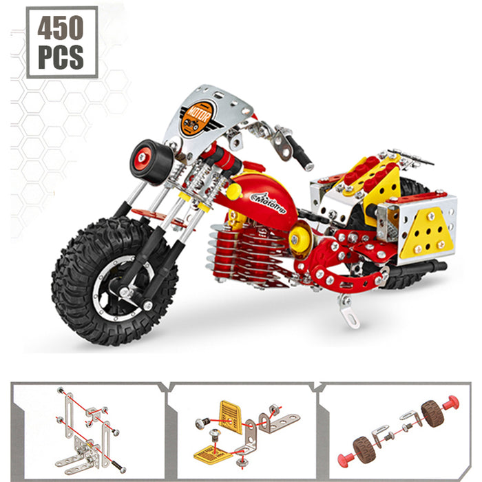 450Pcs Retro Style Metal Motorcycle Model Building Kit Engineering Education Stem Toy