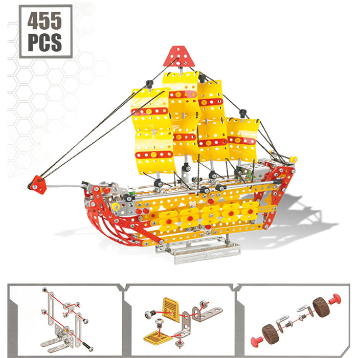 455Pcs 3D Mechanical Ship Sailboat Metal Assembly Model Kit Education Toy
