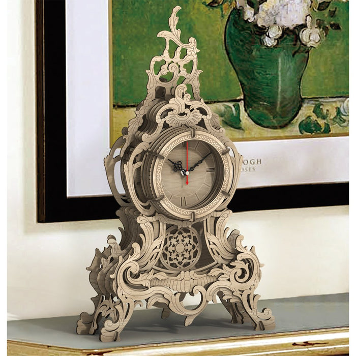 47Pcs DIY Wooden Laser Cutting 3D Clock Puzzle Model Kit Hollow Table Clock