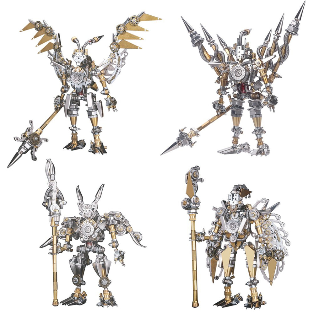 4pcs Assembly DIY Metal 3D Oriental Ancient Fighting Soldier Mecha Figure Team Model Kit Adult