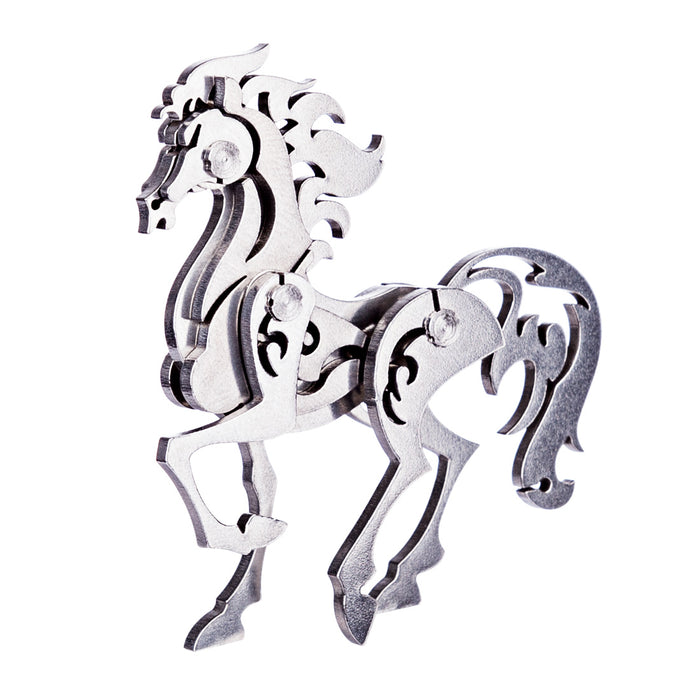 4PCS DIY Assembly 3D Stainless Steel Tiger Cattle Cock Horse Puzzle Toy