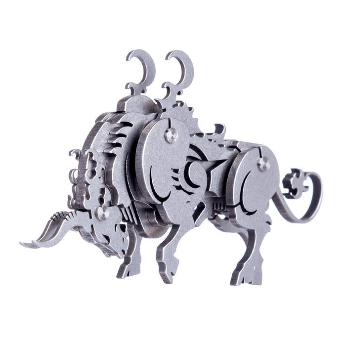 4PCS Griffin Wild Wolf Cattle Horse DIY 3D Stainless Steel Metal Puzzle Model