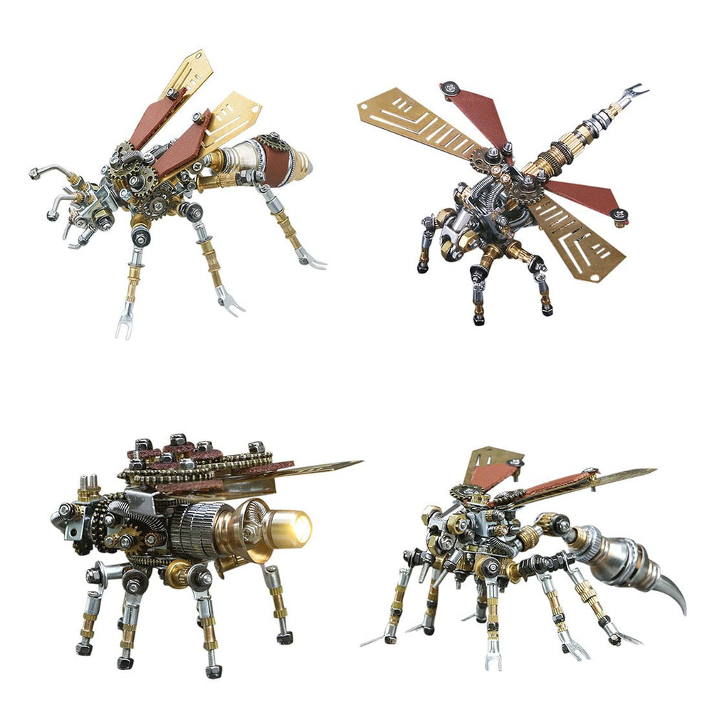 4pcs 3D DIY Metal Mechanical Dragonfly Firefly Wasp Termite Insects Assembly Model Set
