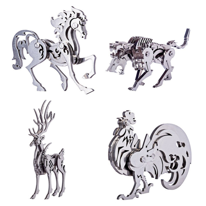 4pcs Metal 3D DIY Assembly Detachable Rooster Cerberus Elk Horse Model Puzzle Kit