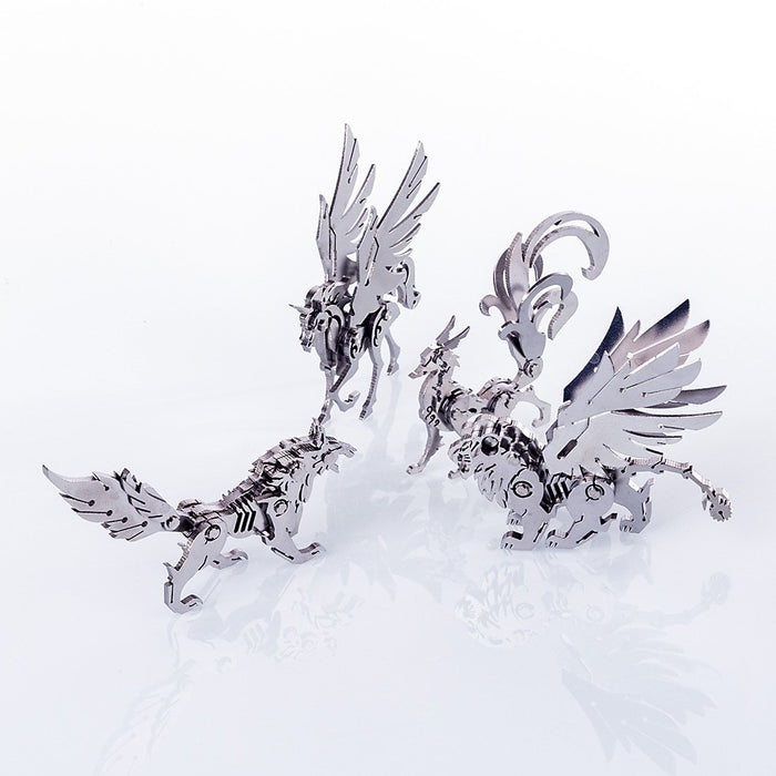 4pcs Metal DIY Assembly Detachable Unicorn Wolf Lion Fox Model 3D Puzzle Kit