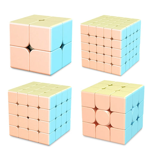 4pcs MFJS MeiLong Macarone 2x2 3x3 4x4 5x5 Magic Cube - Stickerless