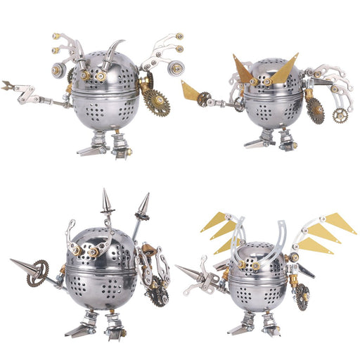 4pcs Set 3D Assembly Mini Mecha Soldier Figure DIY Metal Mechanical Puzzle Model Kit Toys